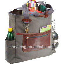 Cotton Canvas Tote lightly padded with vinyl accent wraps