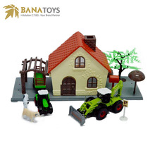 Plastic farm toy tractors and animal scene set