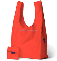 Custom Orange Reusable Folding Shopping Bags Polyester Foldable Shopper Bag
