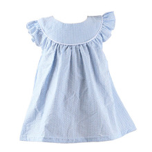 Wholesale 2016 new summer smoke design blue flutter sleeve seersucker baby girls' dress