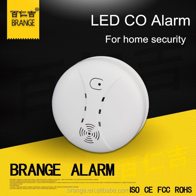 High sensitivity White color Mini size Car must Photoelectric Carbon Monoxide Detector ,CO alarm work with 9V Battery
