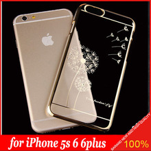 New Ultra Slim Luury Crystal Diamond Bling Transparent Electroplate Dandelion Case Cover For Apple iPhone 5s 6 6plus