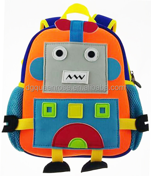 cute Robot backpack neoprene school bag for children