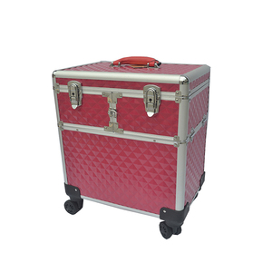 Professional Rolling Aluminum Makeup Case, Beauty Cosmetic Trolley Hard Case, Travel Luggage Carrg Case