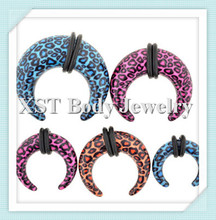 New design Hot print leopard horseshoes ear plug body piercing jewelry