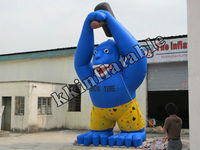 hot blue inflatable gorilla model, inflatable animal cartoon