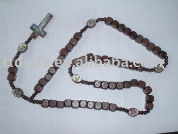 wooden necklace with cross