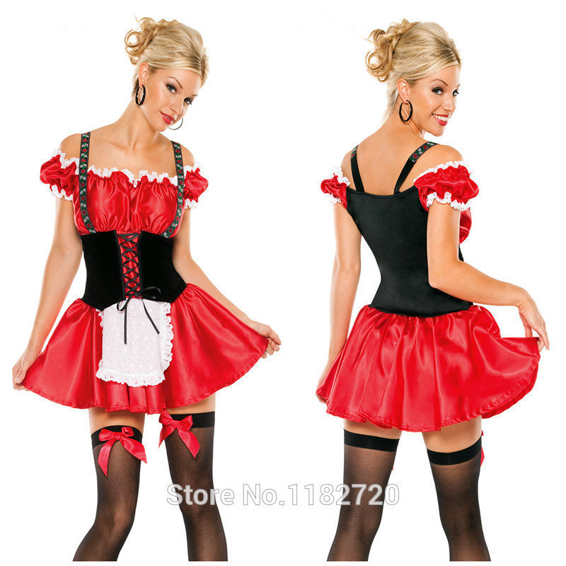 free shipping walson instyles Beer Girl Costumes red dress cute German beer maid service cafe serving services cosplay costume
