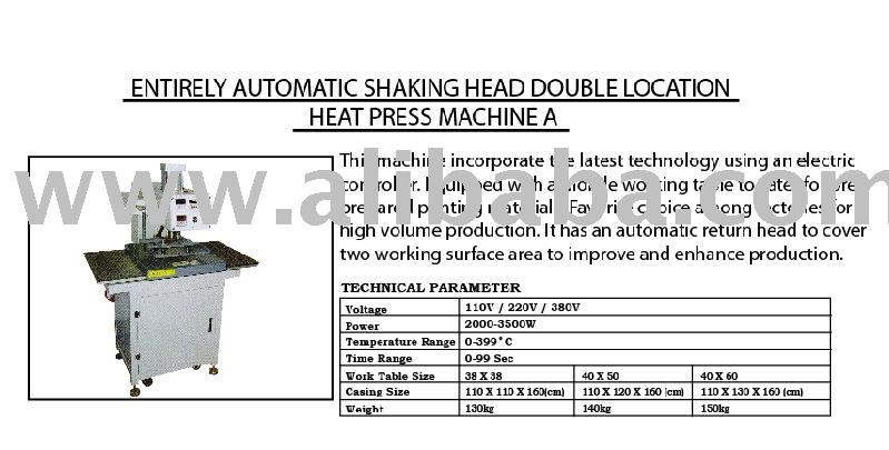 Entirely Automatic Shaking Head Double Location Heat Press Machine A