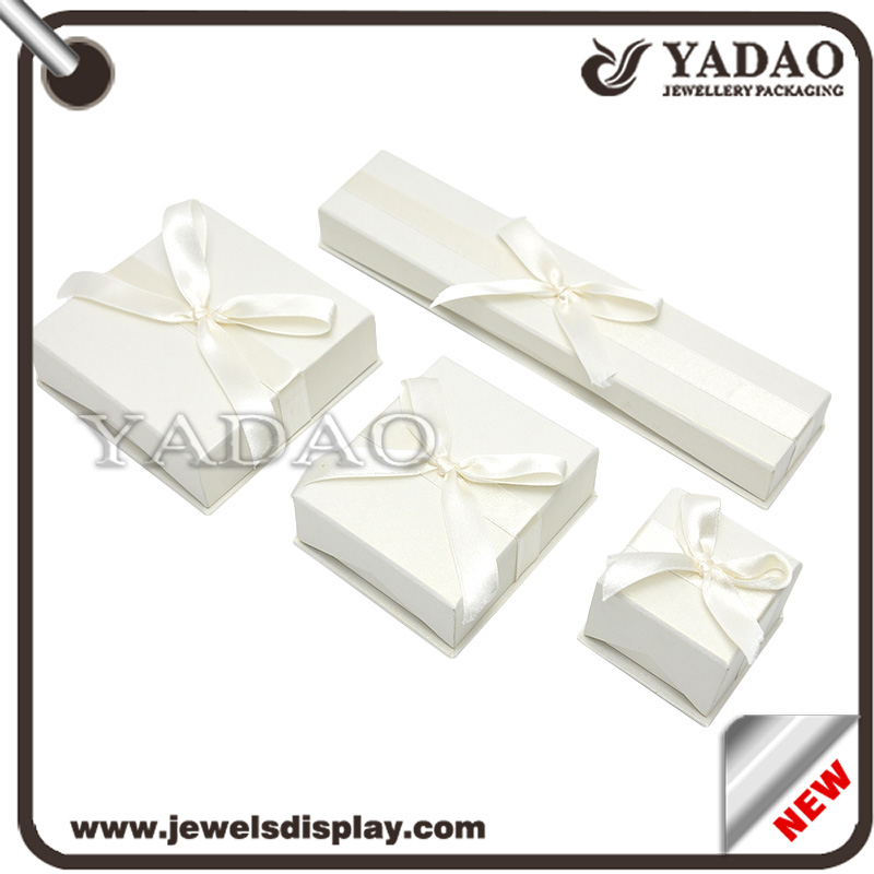 Recycled custom printing handmade kraft hard paper box gift with ribbon bow