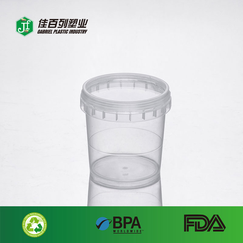 Wholesale 500ml empty clear container with transparent screw cap for honey,candy,ice cream ,jam jar pet plastic mason jar