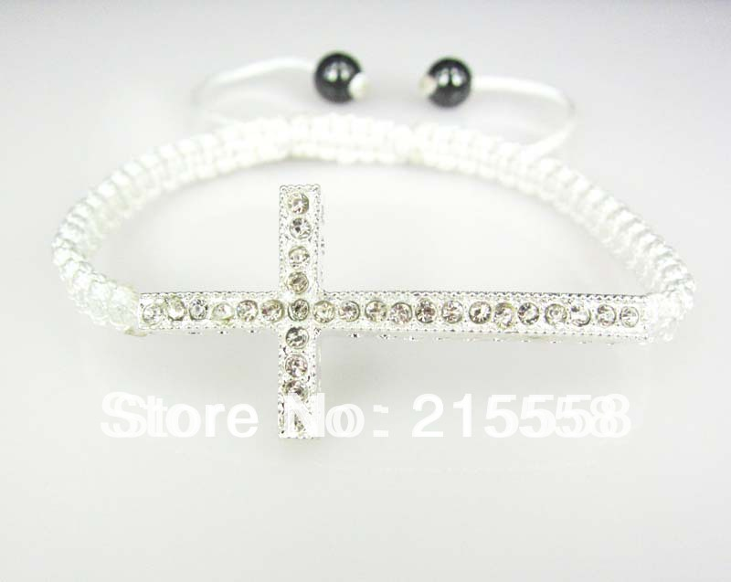 DIY New Fashion Shamballa Silver White Honesty Bracelet Handmade Side Ways Sideways Cross Bracelet Jewelry Finding 15pcs/lot