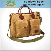 Leather Trims Handles Retro Canvas Messenger Bag with Two Front Flap Pockets Laptop Compartment