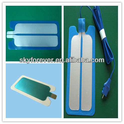 Disposable esu patient plates,blue bipolar adults grounding pad with 3m cable
