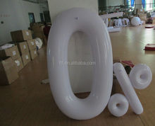 inflatable zero number and 100 percent symbol with white color