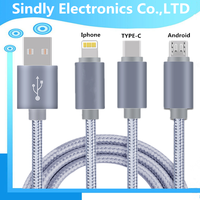 3 in 1 usb data cable for apple, micro and usb type c