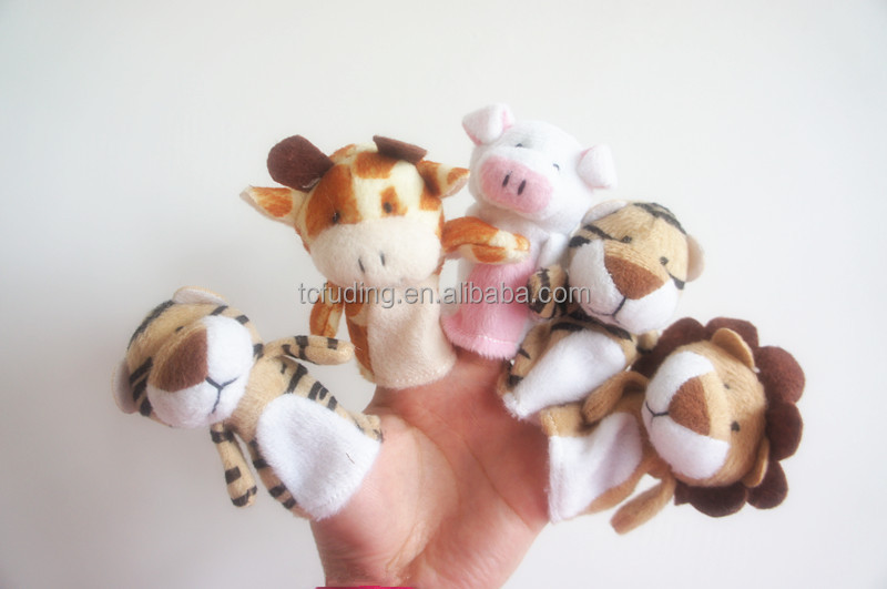 custom mini plush finger puppet toys, cheap promotion puppet toy