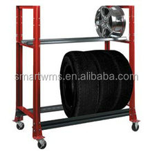 Movable metal stacking tire rack