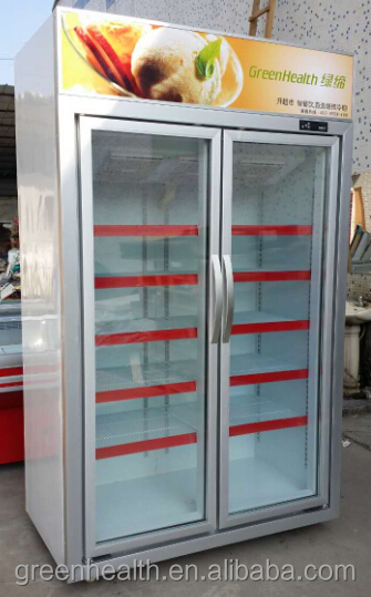 Green&Health Canned Beer Display Refrigerator Used Commercial Upright Fridge 2 Doors Drink Cooler for Sale
