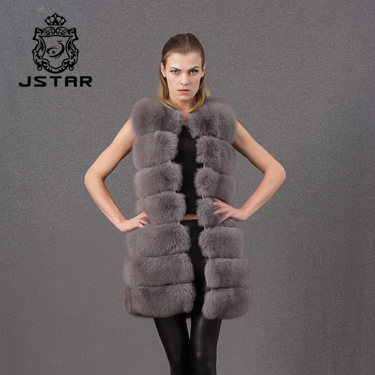 Latest technology hooded vests real fox fur hood long style vest winter sleeveless coats