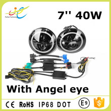 led lighting parts 7inch round 40W Jeep wrangler headlight with Angel eyes 7 inch sealed headlight for jeep