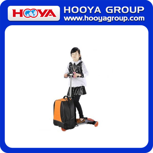 Funny and labor saving folding scooter trolley luggage with three wheels
