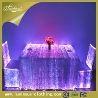 2015 led fiber optical luminous ruffled wedding TABLE COVER