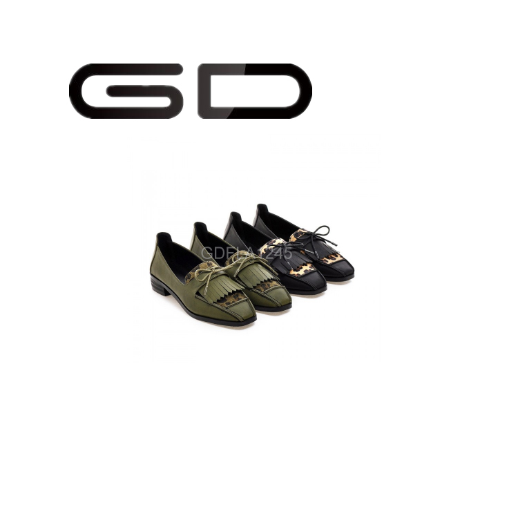 GD comfortable wood heel shallow ballet flats shoes