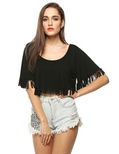 FINEJO Stylish Ladies Casual Loose Fringe Cover Up Short Crop Top Blouse Plus Size