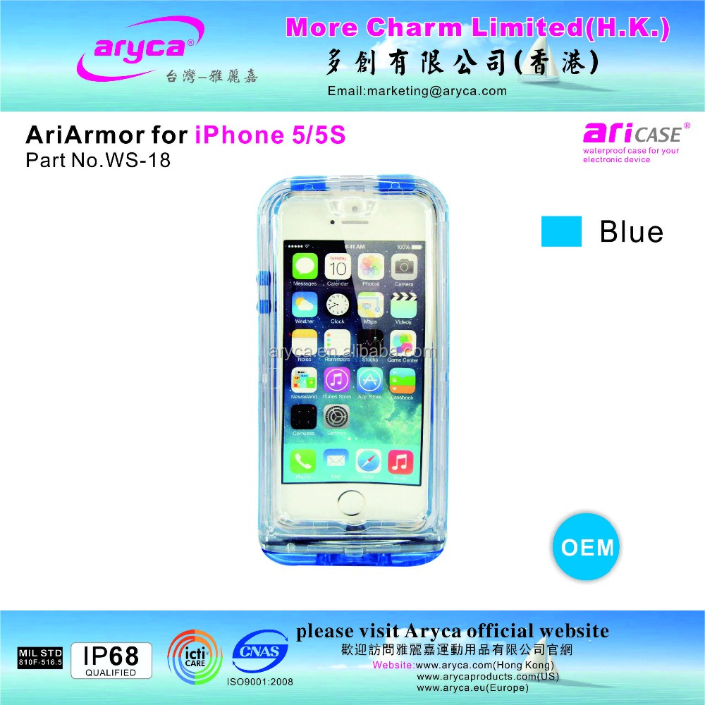Unique Protective Popular Stylish blue Waterproof Case for iPhone5/ 5S