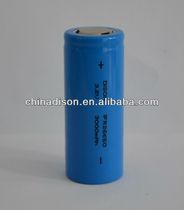 Lithium lron Phosphate Battery 3.2V 26650 LiFePO4 Battery with 3000mAh Capacity