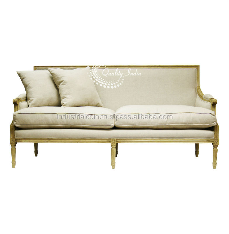 Louis White Fabric Three Seater French Style Sofa