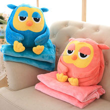 Convertible Blanket Transform Into Plush Owl Toys Multi Use Car Conditioner Warm Cover Stuffed Animal
