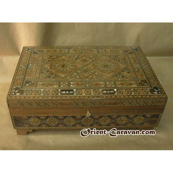 Luxurious Mosaic Jewelry Box with an amazing and Rich Design that has inlaid pieces of Mother-of-Pearl