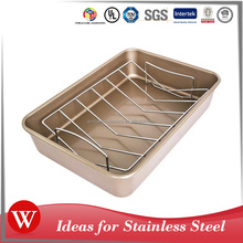 Thanksgiving Day Non-stick Carbon Steel Roasting turkey Pan with Chome-plated Rack Baking Pan Roaster