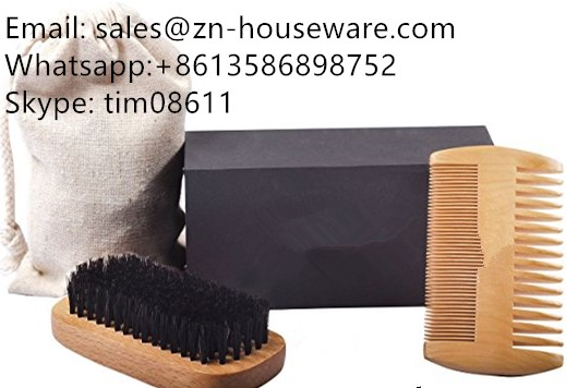 Natural Boar Bristle Beard Brush and Comb Set for Men- Wide and Fine Teeth Sides Comb-, Mustache Comb Kit for Easy Grooming