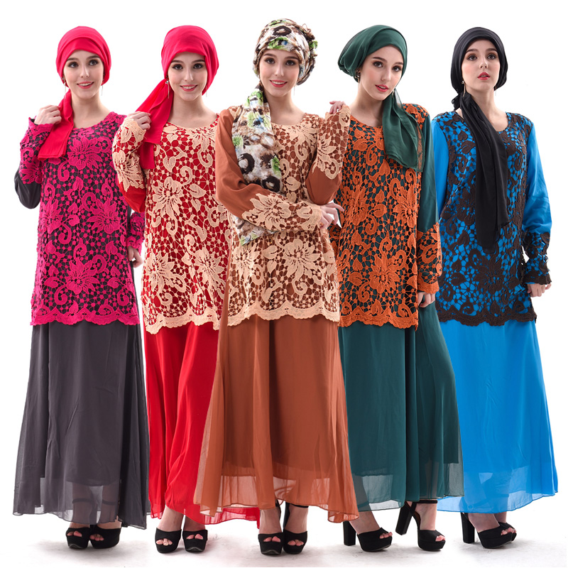 fashion design lace abaya muslim women dress pictures crochet top long sleeve chiffon abaya kaftan dress