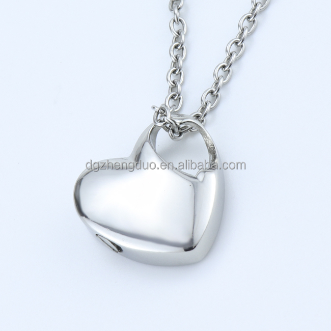 High Polished Stainless Steel Love Heart Shaped Urn Pendant Cremation Necklace For Ashes/Perfume/Essential Oil