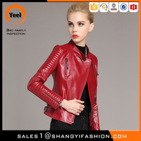 YEEL custom ladies leather bomber jacket wholesale lady waterproof motorbike pu jacket women biker jacket model