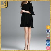 Nice black lace ladys com pleated maxi cocktail party dresses, elegant chiffon kaftan dresses 2016, new fashion dress 2016