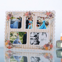 Christmas gift wall hanging picture frame large decorative big rose flower wedding photo frame 0.8kg 5 boxe Venetian style BY001