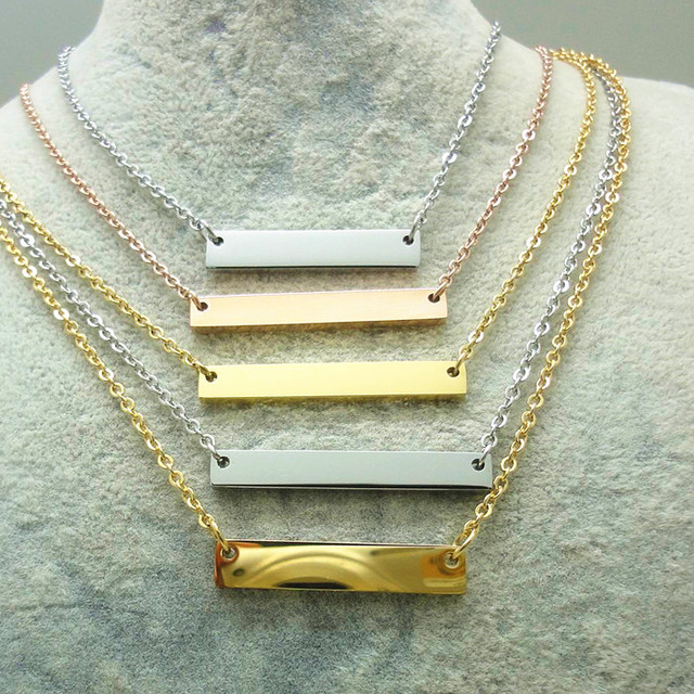 2017 custom jewelry necklaceyuanwenjun 2017 hot sale on alibaba website custom engravable 316l stainless steel bar nameplate necklace by wenfanqi aloadofball Image collections