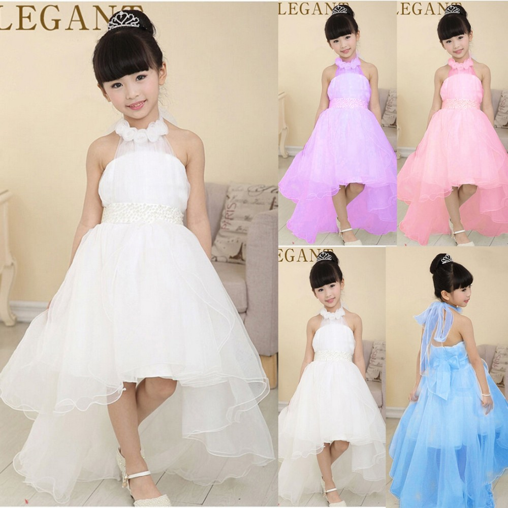 OEM Service Appliqued Sleeveless Ruffle Satin Flower Girl Dress for wedding with long train