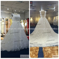 New Design High Quality All Lace Scoop Neck V Back Ball Gown Cap Sleeve Wedding Dress