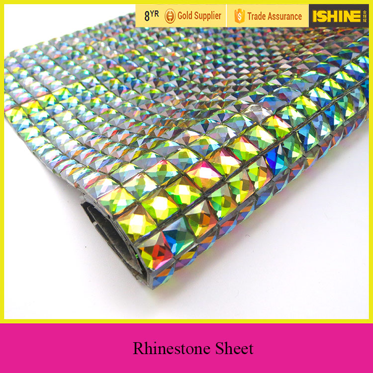 Fashion Design Hotfix Rhinestone Sheet Square Crystal AB 24*40 Adhesive Rhinestone Mesh Sheet