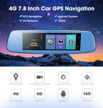 "Hot sale car camera 4G 7.84"" Touch ADAS Remote Monitor Rear view mirror with DVR and camera Android Dual lens 1080P WIFI dashcam"