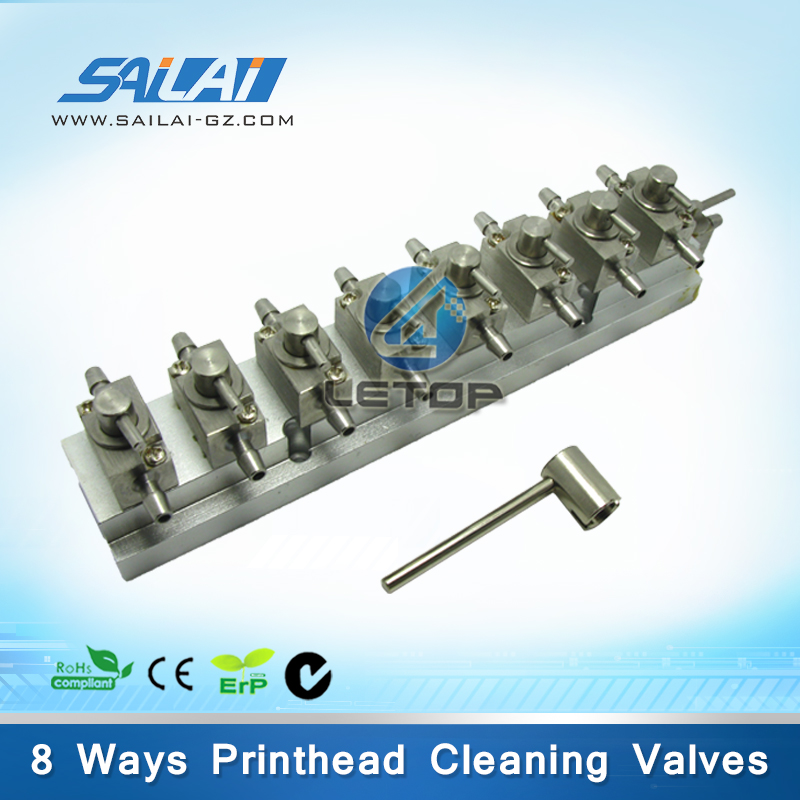 Good price!!!solvent printer cleaning head 3 way metal valve 8 bits