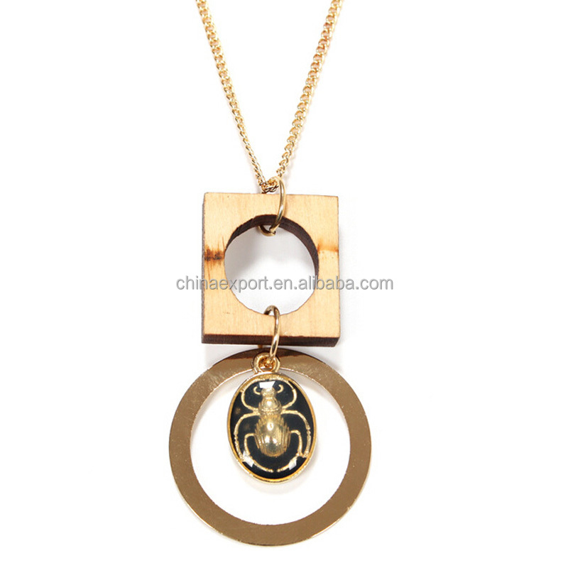 Laser Cut Wooden Pendant Jewellery Fancy Long Chain Necklace