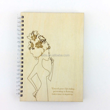 laser cut wood beauty girl wood joural book note book
