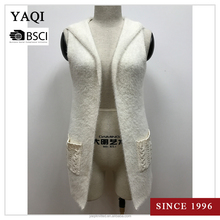 Women's Sleeveless Knit Hooded Cardigan Pattern Knitted Sweater Vest